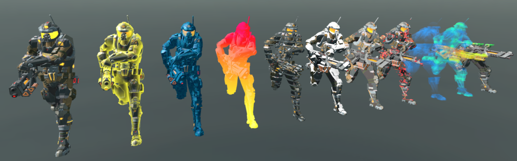 3D models with different shaders