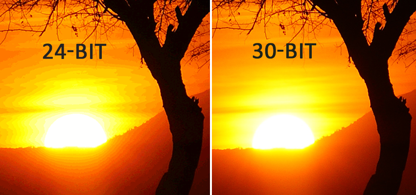Images in 24 bit and 30 bit