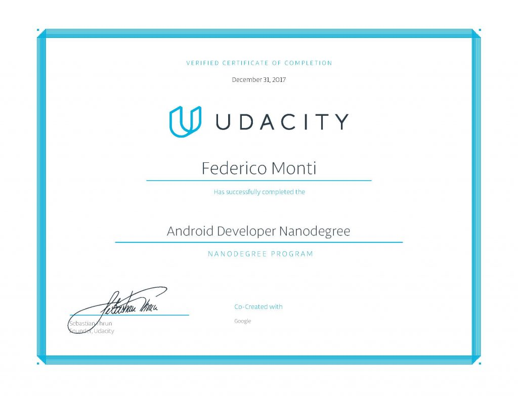 2017 - Certificato Android developer -Nanodegree