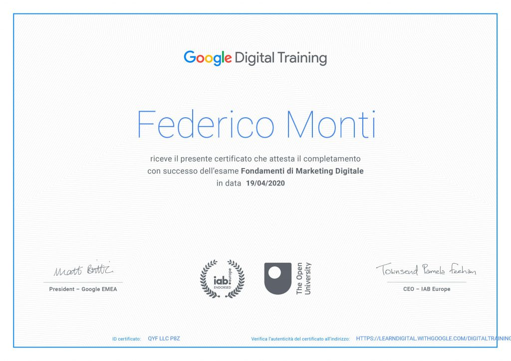 2020 - Certificato Google Digital Marketing